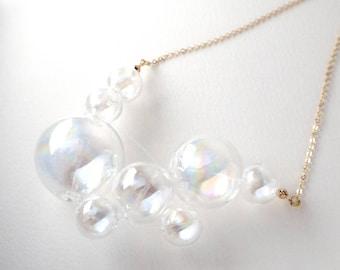 NOVOLA dichoric - Rainbow coated Dichoric Glass bubbles necklace
