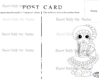 INSTANT DOWNLOAD Digital Digi Stamps Big Eyed My Besties Winter Wonderland Post Card 1 Big Head Dolls Digi By Sherri Baldy