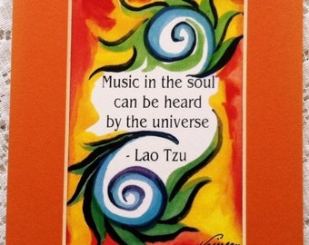 Music In The Soul LAO TZU 5x7 Motivational Quote Inspirational Print Yoga Meditation Spiral Friends Gift Heartful Art by Raphaella Vaisseau