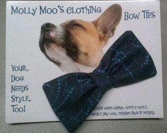 Small Dark Blue Collar Bow Tie