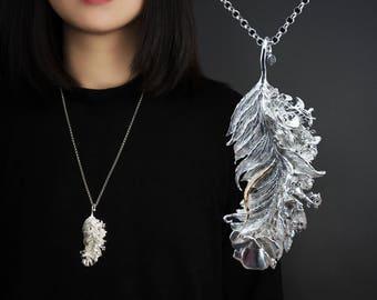 Feather necklace ,handmade ,silver necklace,art jewelryflower jewelry