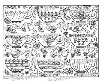 Teacups Coloring Page PDF
