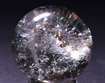 Best Green Phantom Quartz Sphere Included Garden Crystal ball,Scenic Quartz,Multi-inclusions Crystal Ball(Size:39mm,81g)#1019