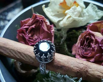 The Sorceress / Sterling silver and Onyx Talisman ring / Artemisia Craft