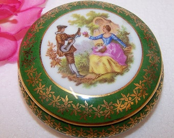 Limoges Green Gold Round Porcelain Trinket Box Courting Couple France