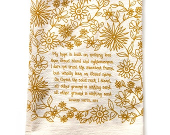 Hymn Tea Towel My Hope is Built | Christian wall art gift for her teacher gift idea mothers day art print kitchen towels