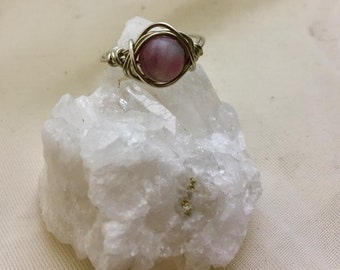 Handmade wire wrapped pink tourmaline ring ready to ship