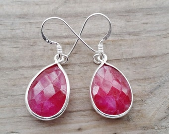 Ruby Earrings - Ruby Jewelry - July Birthstone Earrings - Silver Ruby Earrings - Ruby Gemstone Earrings