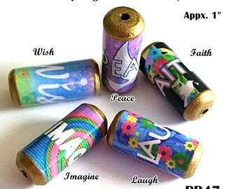 Inspiring Word Beads -  Handmade Paper Tube Beads - Set/5 Beads -  PB47