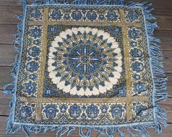 32x32 Belgian Tapestry Table Cover - Blue Sunburst Floral - Flower Cover - Fringed