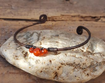 Beaded natural stone, Carnelian, orange, copper thin band, rustic