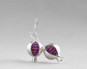 Pomegranate Earrings - Amethyst Silver Earrings - Ruby Silver Earrings - Garnet Earrings - Pomegranate Silver Earrings - Pomegranate Jewelry
