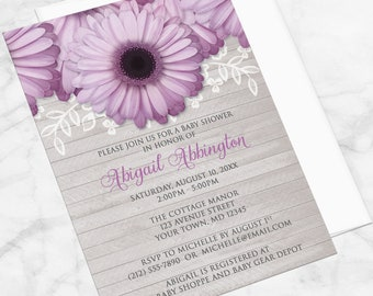 Purple Daisy Baby Shower Invitations - Rustic, Light Gray Wood, Purple Shower Invites, Daisy Shower Invites - Printed Daisy Invitations