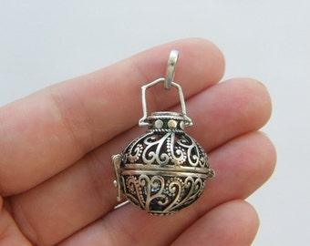 1 Wish box pendant antique silver tone M159