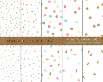 Seamless Digital Paper 'Round & Triangle Confetti II' Blue, Hot Pink, Aqua, Yellow and Gold Papers for Backgrounds, Scrapbook, Cards, ...