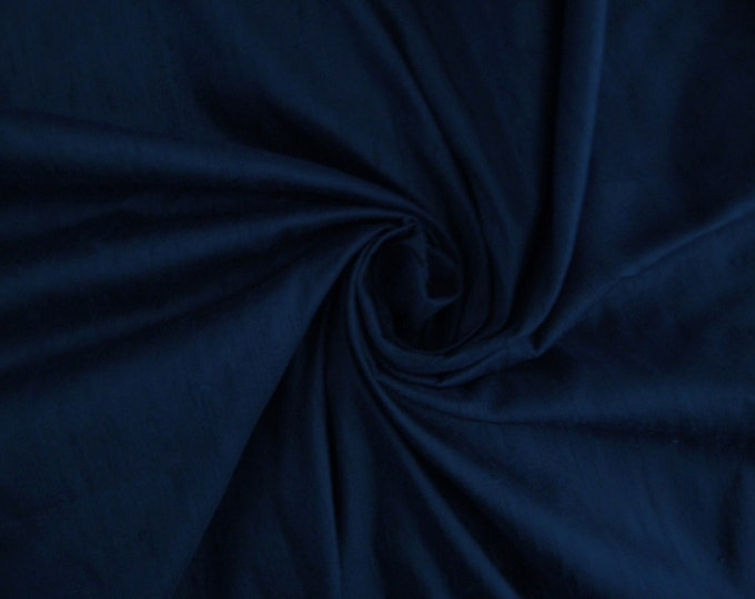 "Navy Blue 100% dupioni silk fabric yardage By the Yard 45"" wide"