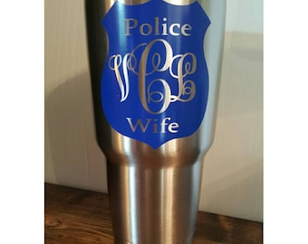 "Monogram Decal for ORCA Yeti RTIC or Ozark , Personalized Vinyl Sticker for Tumbler cup, Car Windows, 3.5""x3.5"" POLICE Wife"