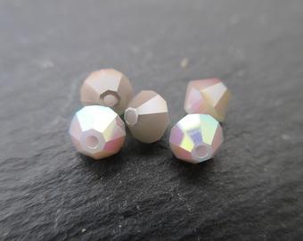 Crystal bicones 4 mm: 8 beads Swarovski rose water opal