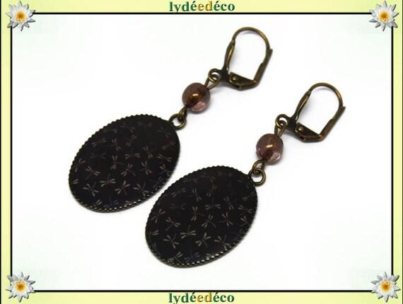 Earrings retro dragonflies Japan Brown blue black resin bronze beads glass pendants 18x25mm