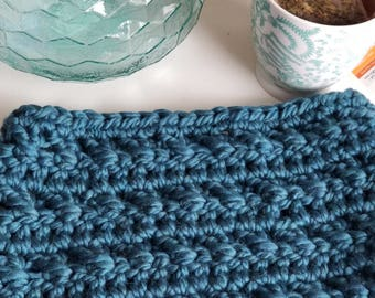 Teal Crochet Cowl, Neck Warmer, Chunky Crochet Cowl, Chunky Scarf, Blue Thick Cowl Scarf