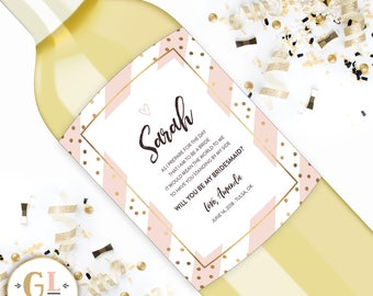 Will you be my bridesmaid wine label, ask bridesmaid card, bridesmaid proposal gift, maid of honor ask, personalized bridesmaid champagne