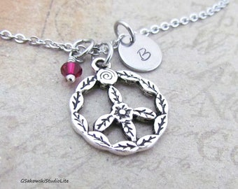 Peace Sign Charm Necklace, Personalized Hand Stamped Initial Birthstone Antique Silver Peace Sign Necklace