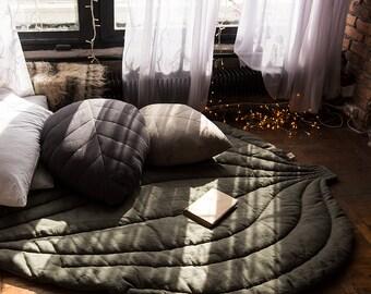 Linen pillow linen sofa pillow linen leaf pillow linen floor pouf linen floor pillow linen cushion linen coach pillow rustic boho pouf