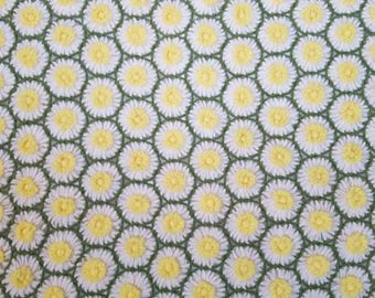 Vtg Twin Daisy Honeycomb Yellow White Crochet Afghan Blanket Bedspread Coverlet