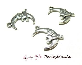 10 pendants KAWAI 22mm (S1164111) ANTIQUE silver metal Moon and rabbit