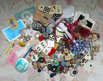 Destash Lot#2/Found Objects-Altered/Mixed Media-Beads,Trim,Letter Tiles,Cards-etc