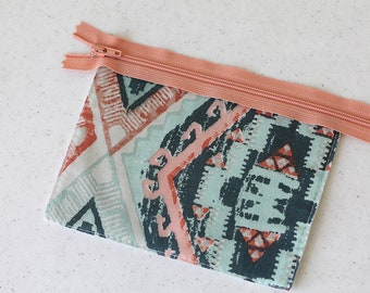 Tribal Bag, zipper pouch, change purse, mini business card id holder, coin purse, small, cash envelope, pocket wallet, peach, teal, teenager