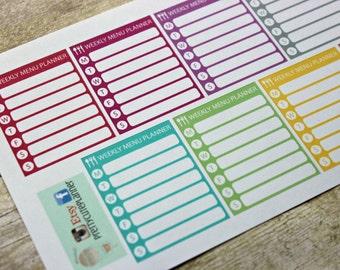 Planner Stickers - Weekly Menu Planner Stickers - Reminder Stickers - ECLP Stickers - Happy Planner - Menu planning - Weekly Stickers