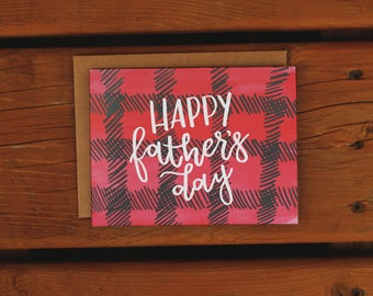 Plaid Dad | Father's Day Card | Handpainted Watercolor Plaid | Dad Card | Handmade Greeting Card | Red | Black | Simple