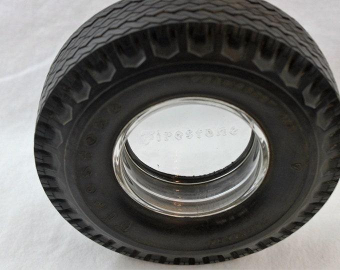 Vintage Firestone Tire Glass & Rubber Ashtray