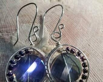 Fine Silver Crystal Woven Earrings