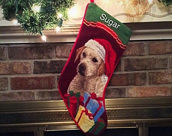 Yellow Lab Dog Stocking-Personalized, Personalized Christmas Stockings, Christmas stocking, Needlepoint Stocking, Dog Christmas Stocking