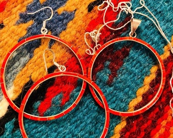 Sterling Silver HUGE Coral Inlay Hoop Earrings for pierced ears. with matching pendant