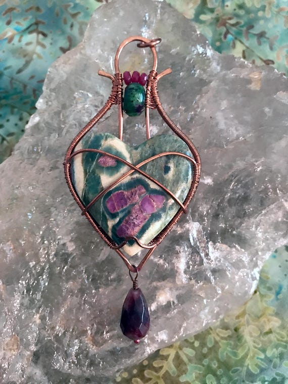 Ruby in Zoisite Heart Pendant, Wire Wrapped Heart Pendant, Ruby and Watermelon Tourmaline Pendant