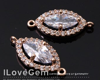 NP-1711 Rose Gold Plated, Cubic zirconia, Marquise Connector, 9X19mm, 2pcs