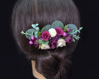 Plum Wedding hair accessories Wedding headpiece Wedding hair piece Bridal headpiece Plum flower comb Ivory Bridal hair comb Flower girl comb