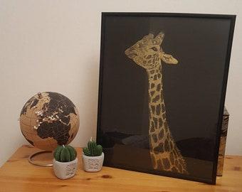 Giraffe Scraper foil Original Art