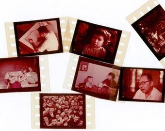 7 Vintage Color Education Filmstrip Frames