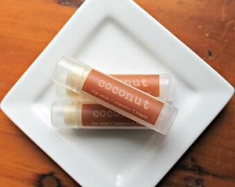 Coconut Lip Balm  .15oz Tube Organic and Vegan Lip Balm