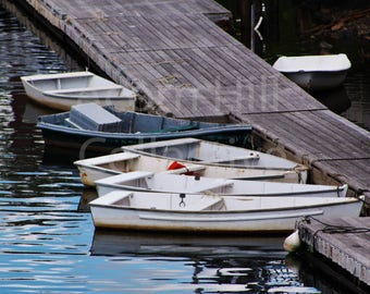 Dingy Boats 8 x 10 Photograph , rowboats art print, boat reflection on water, Boats poster prints, Perkins Cove Harbor, Ogunquit Maine