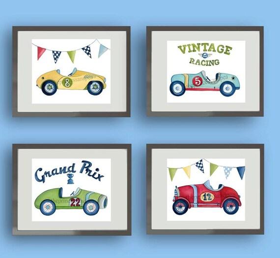 Race Car Nursery Art Vintage Race Car Boys Art Boys Nursery