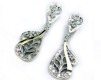 Great Handcrafted Yellow Gold & Silver Filigree Long CZ Earrings (s e1924