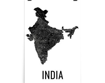 India Map, Map of India, India Art, India Decor, Indian Art, India Print, India Poster, India Wall Art, India Country Map, Indian Gifts