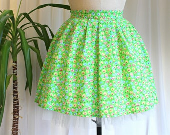 1950s Inspired Circle Skirt, Lime Green Floral Pin up Skirt, Handmade with Vintage Fabric,  27 inch waist UK size 8-10 / US 4-6 / EU 36-38