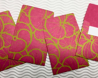 4 teeny tiny envelopes fuchsia papers miniature mini note sets square stationery party favors weddings guest book table numbers