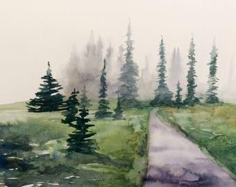 Rainier, Spray park mt Rainier, Pacific Northwest, northwest landscape, landscape watercolor, Misty trees, pine tree painting, landscape